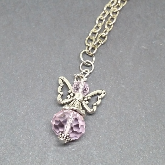 NWOT Guardian Angel Necklace Pink Clear Bead